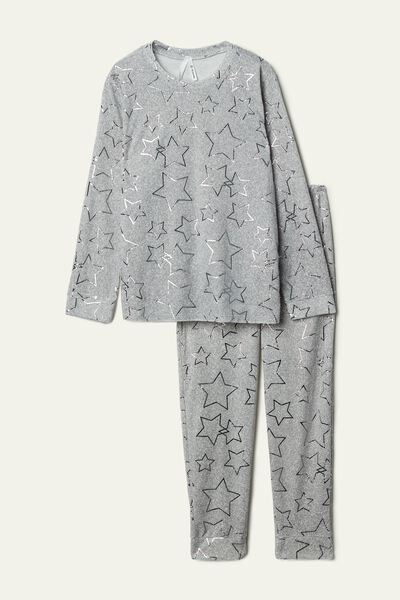 Long Microfleece Pyjamas with Foil Stars
