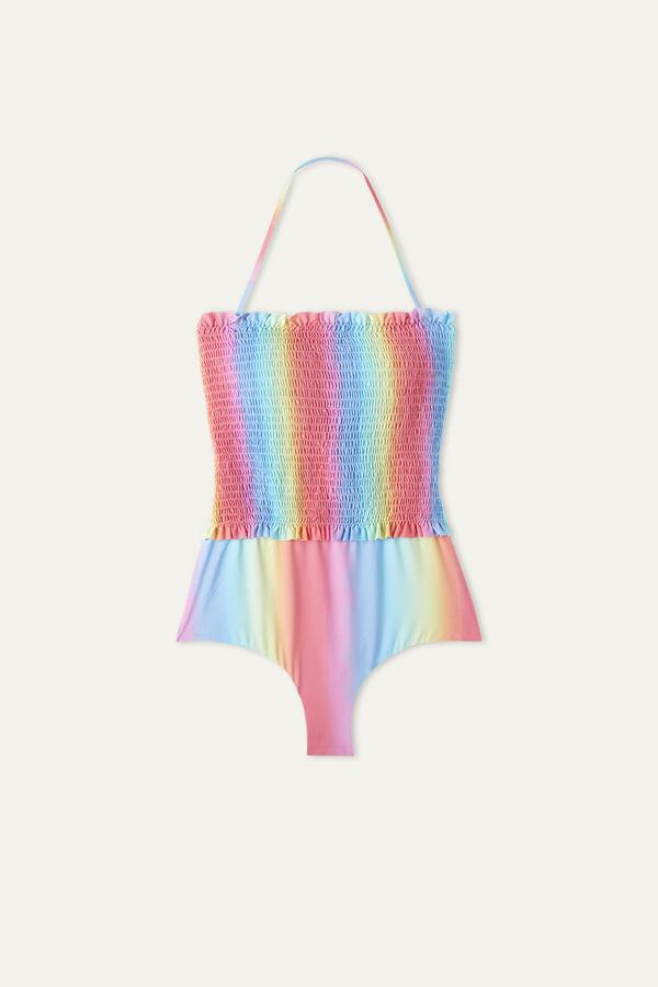 Rainbow Stitched-Smock One-Piece Swimsuit