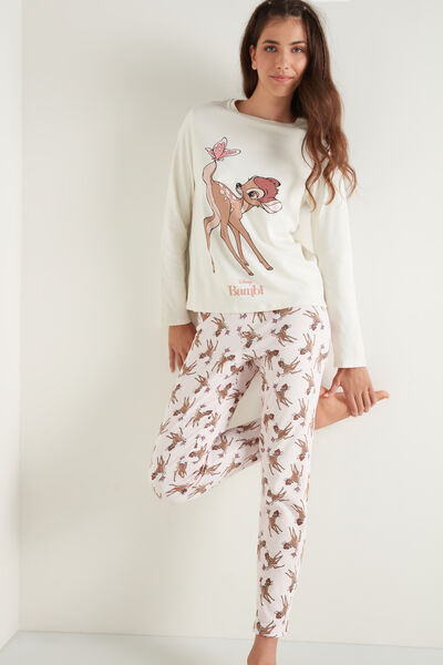 Pink/White Long Pyjamas with Disney Bambi Print