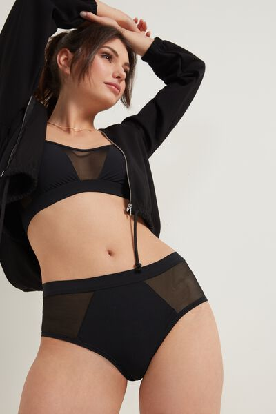 High-Waisted French Knickers in Tulle and Microfibre