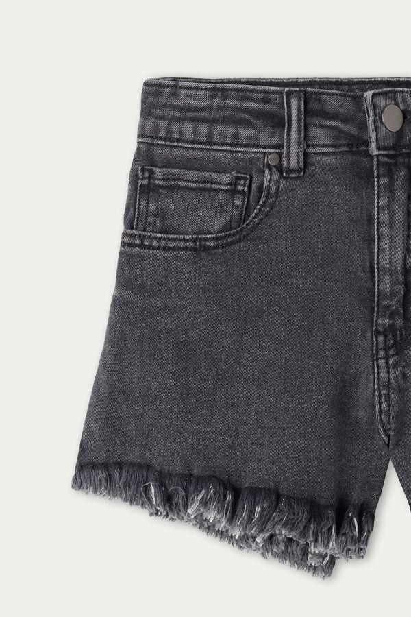 Fringed Denim Shorts