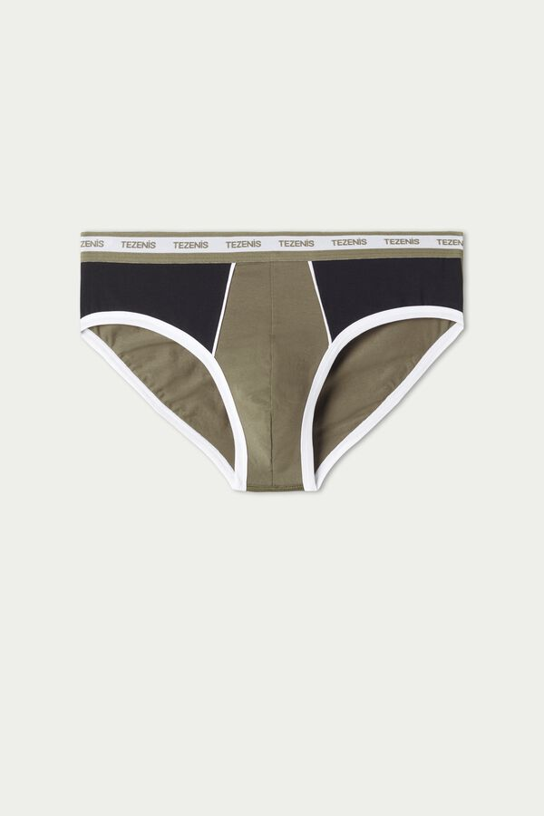 Two-Tone Cotton Briefs with Elasticated Logo Waistband
