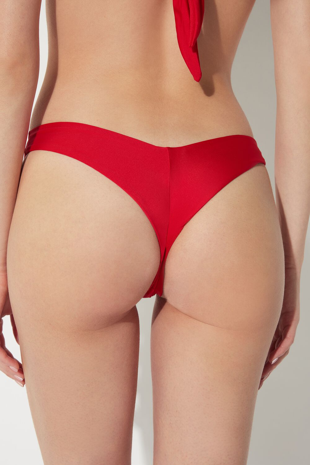 Plain-Coloured High-Leg Brazilian Bikini Bottoms