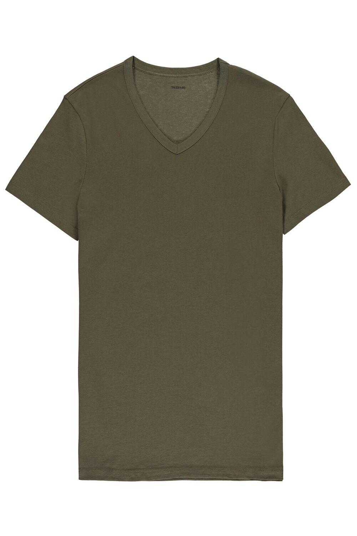 Kurzarm-T-Shirt V-Ausschnitt Baumwolljersey