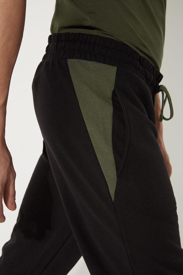Pantalon Long en Molleton avec Empiècements