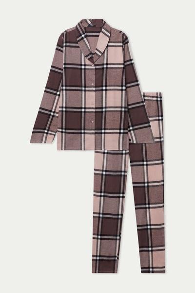 Langer Pyjama aus Baumwollflanell mit Knopfleiste und maskulinem Schnitt