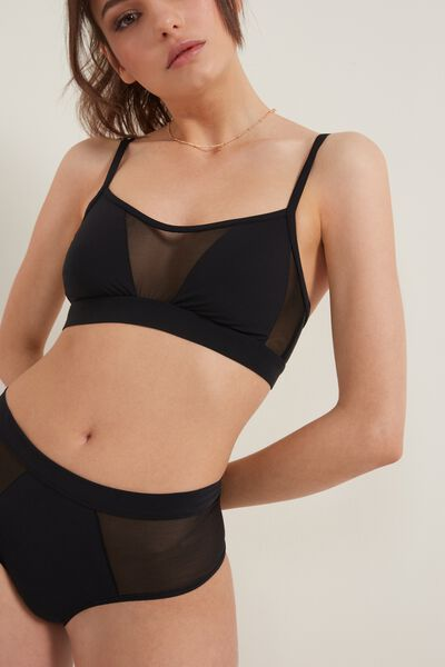 Tulle and Microfiber Bra Top