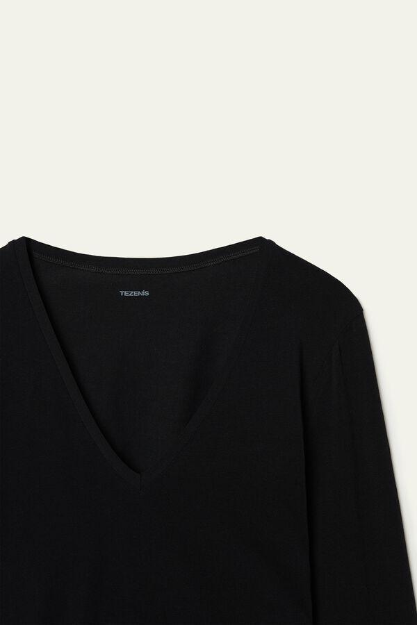 Long-Sleeve V-Neck Stretch-Cotton Top