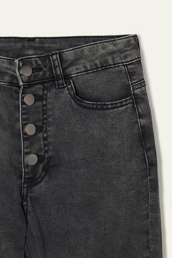 Jeans mit Skinny-Passform, hohem Bund und Knöpfen