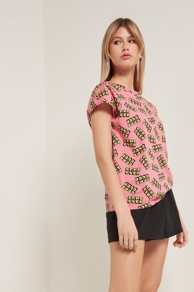 Pyjama Court en Coton Imprimé «Game Over» et Manches Kimono