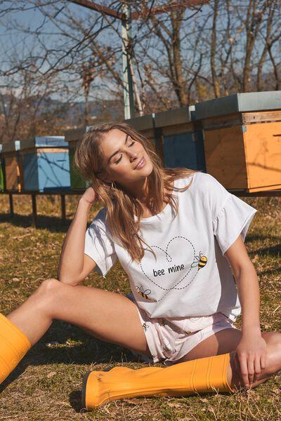 """Krótka Piżama z Bawełny Organicznej z Nadrukiem """"Bee Mine"""""""