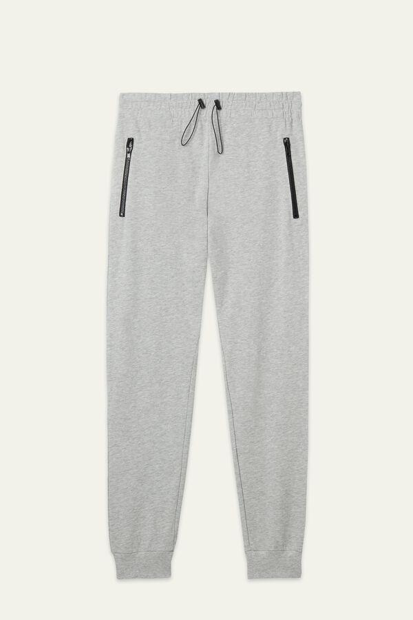 Pantalones Largos de Felpa con Cremallera de Color en Contraste