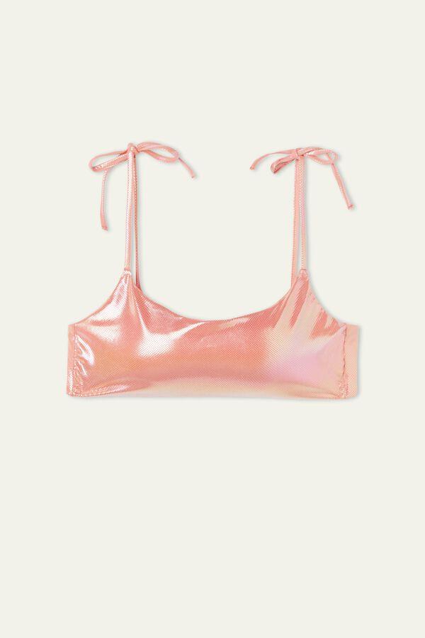 Glossy Brassiere Bikini Top with Ties