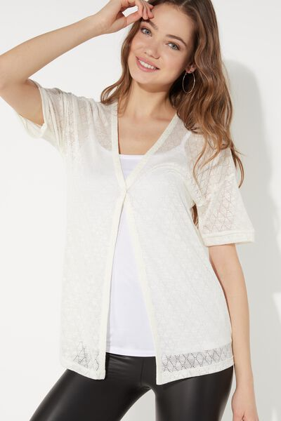 Short Sleeve Cardigan in Rhombus Knit