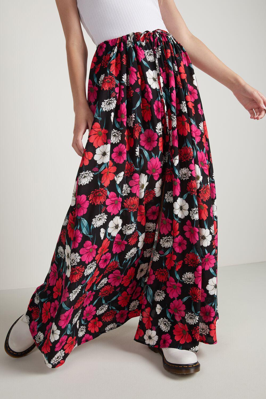 Long Viscose Skirt with Slit