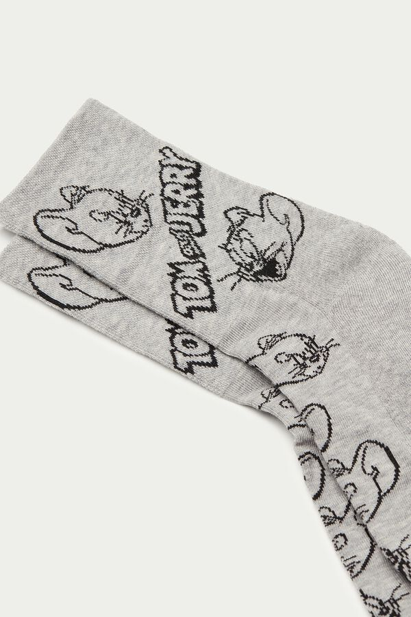 Sportkurzsocken aus Baumwolle mit Tom and Jerry Print Grau