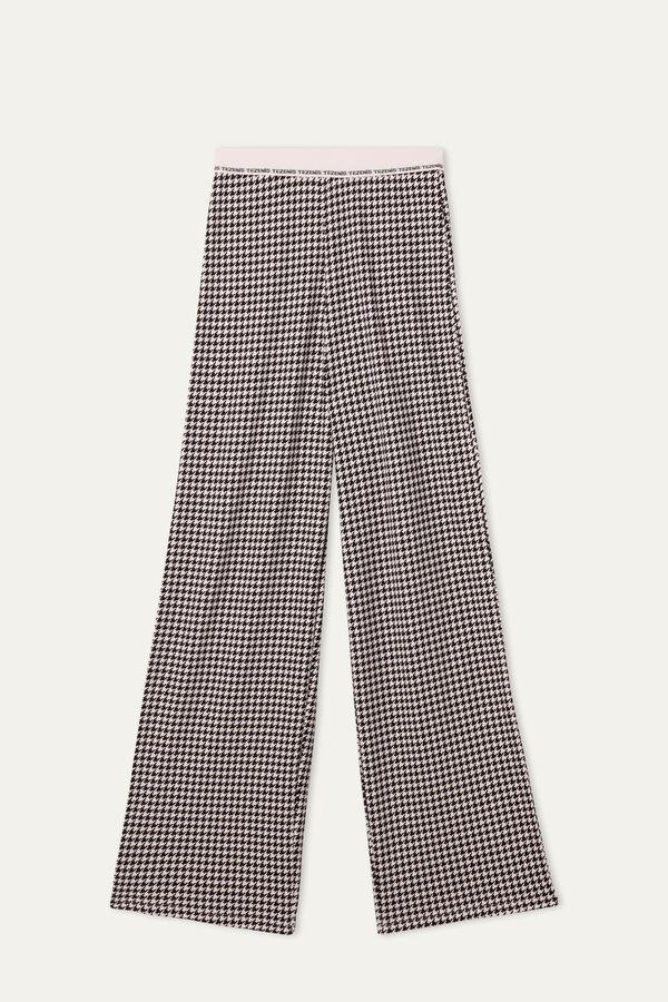 Pantalon Palazzo en Coton Interlock avec Élastique à Logo