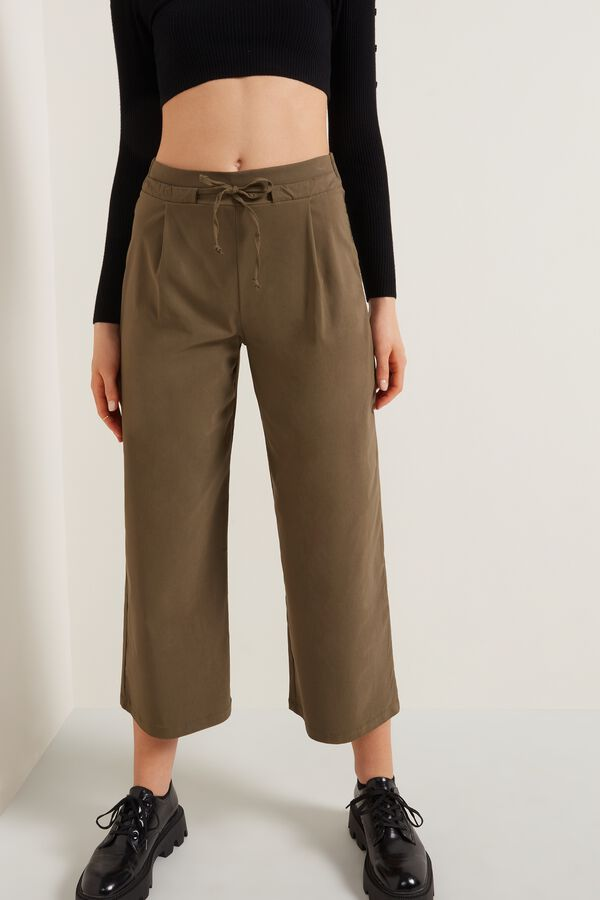 Cropped Canvas Drawstring Trousers
