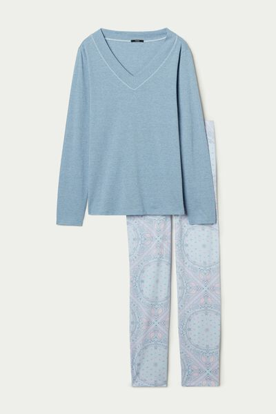 Long Cotton Pajamas with Paisley Print