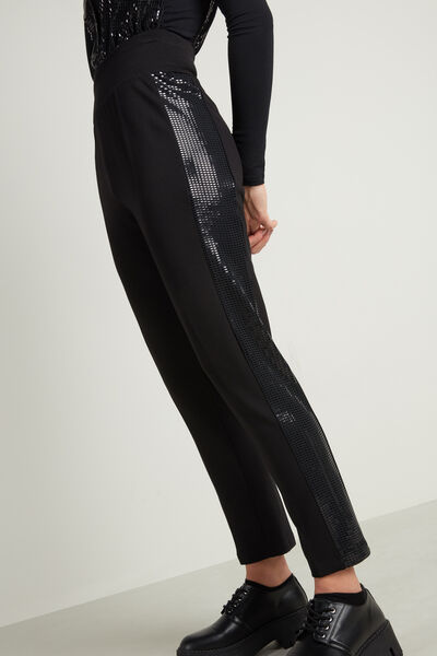 Long Cigarette Trousers with Sequins