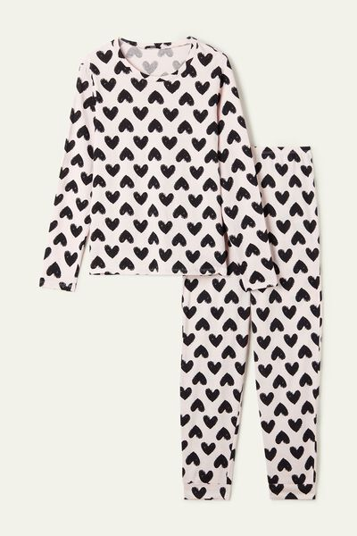 Long Cotton Pajamas with Heart Print