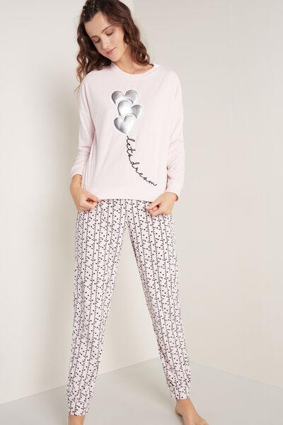 Dlouhé Pyžamo z Mikroflísu Potisk Dream