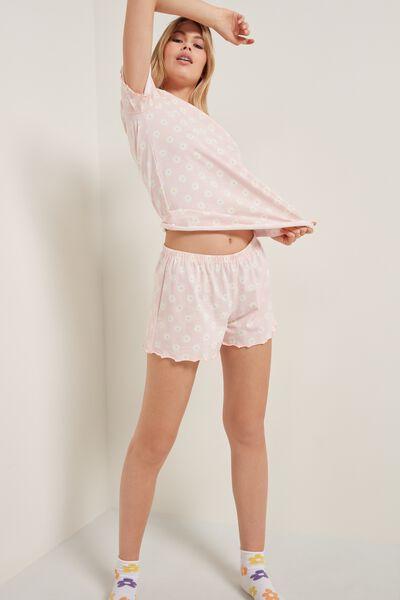 Pyjama Court Coton Imprimé Marguerites Surpiqûres
