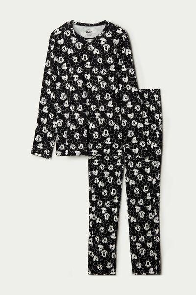 Мужская Длинная Пижама из Хлопка со Сплошным Принтом Mickey Mouse