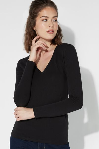 Long-Sleeve V-Neck Stretch-Cotton Top