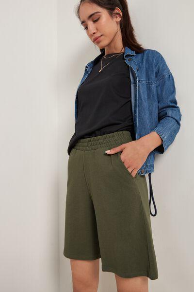 Lightweight Fleece Bermuda Shorts with Pockets