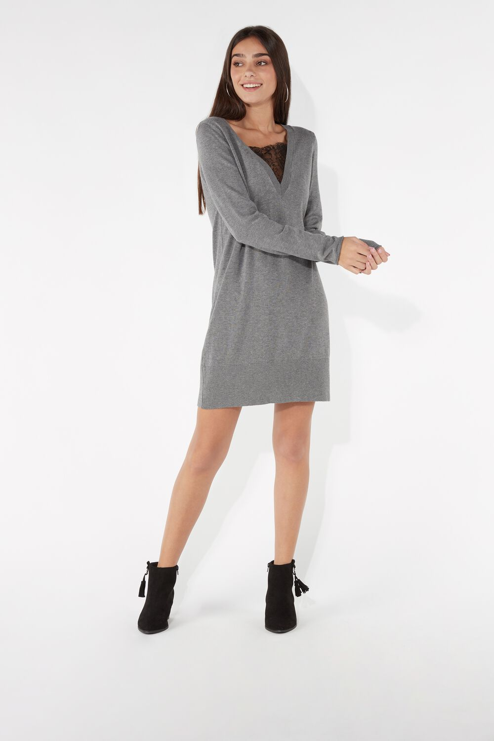 Long-Sleeved Dress with Lace Inserts