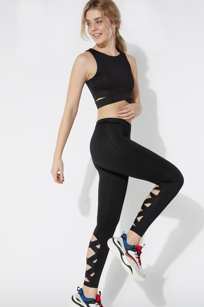 Sports Leggings with Crossover Detail