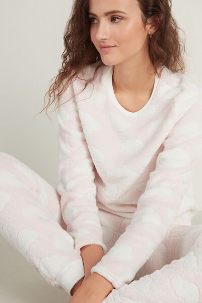 Cloud Print Long Fleece Pyjamas