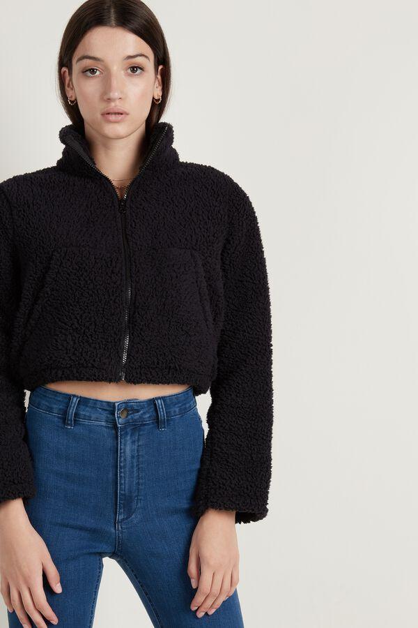 Short Fleece Sweatshirt with Zip