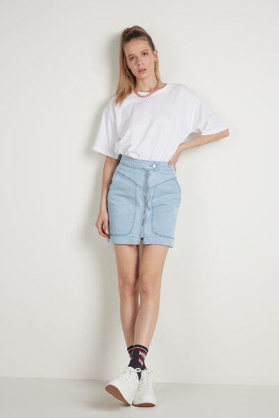 High Waisted Denim Skirt with Zip