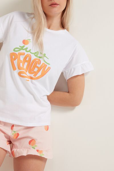 "Short Cotton Pyjamas with ""Peachy"" Print"