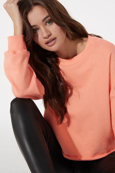 Raw Edge Cropped Sweatshirt