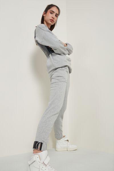 Long Fleece Cargo Pants with Detail