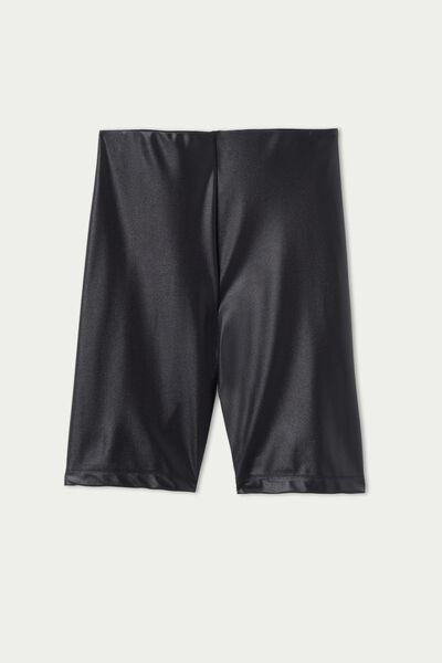 High-Waisted Glossy Microfibre Cycling Shorts