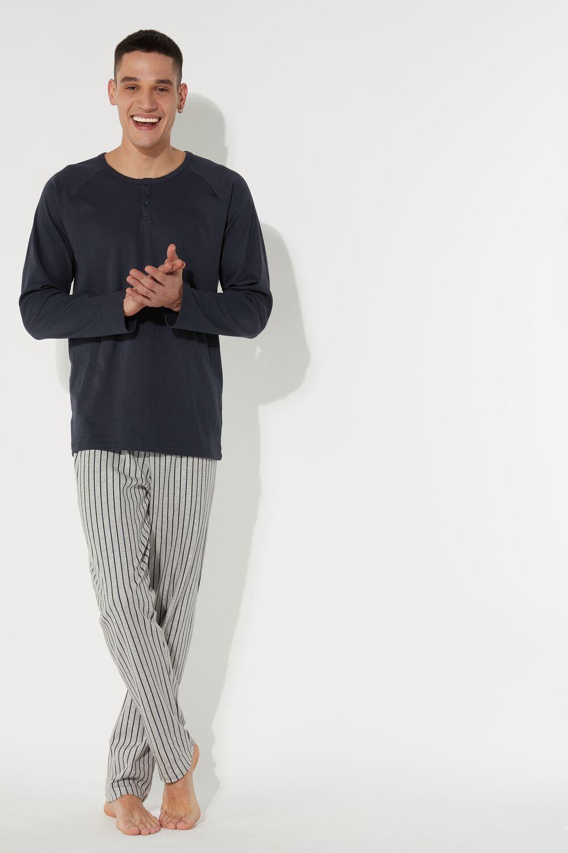 Men's Long Grandad Pinstripe Pajamas