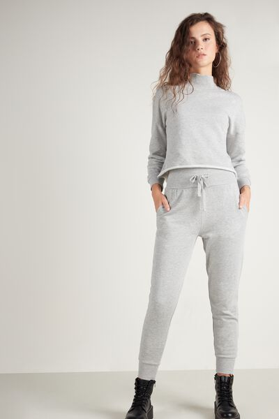 Long Fleece Trousers with Ribbed Band