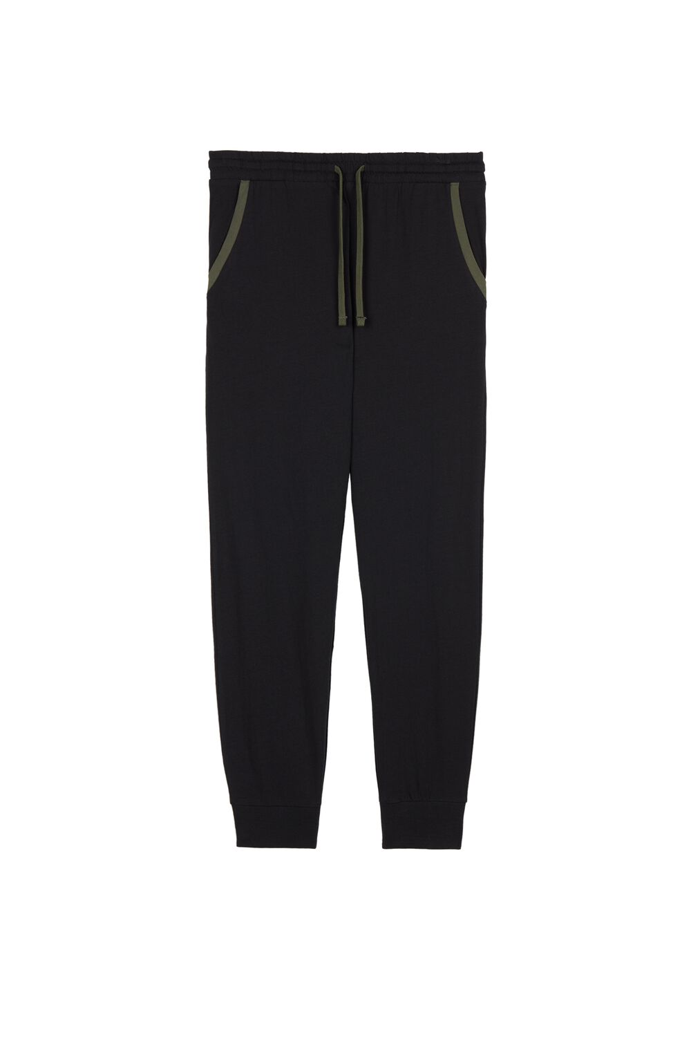 Long Jersey Trousers with Piped Pockets