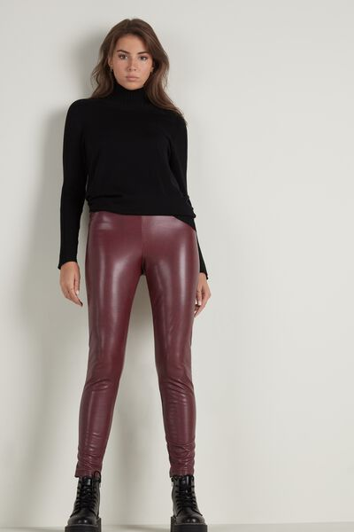 Thermo-Leggings aus Lederimitat Used Look