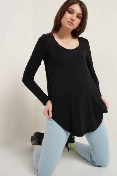 Long Sleeve Asymmetrical Bottom Top