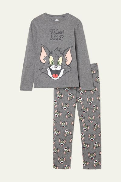 Langer Pyjama mit Tom and Jerry Print