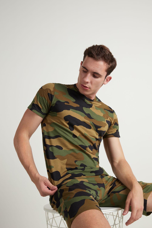 Kurzer Pyjama für Herren mit Camouflageprint