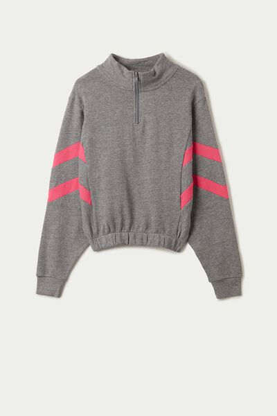 Long Sleeve Short Sweatshirt with Two-Tone Bands