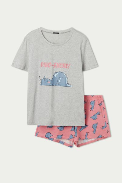Short Cotton Pyjamas with Dinosaur Print