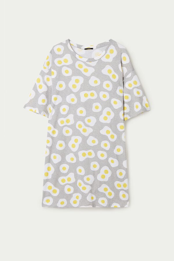 Egg Print Short-Sleeved Cotton Nightgown