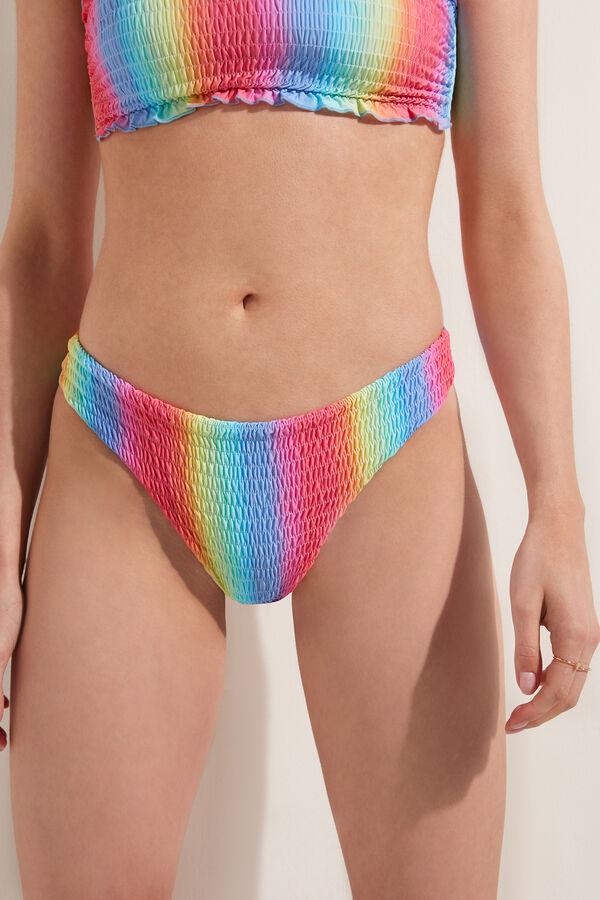 Smocked Rainbow Color Brazilian-Cut Bikini Bottoms